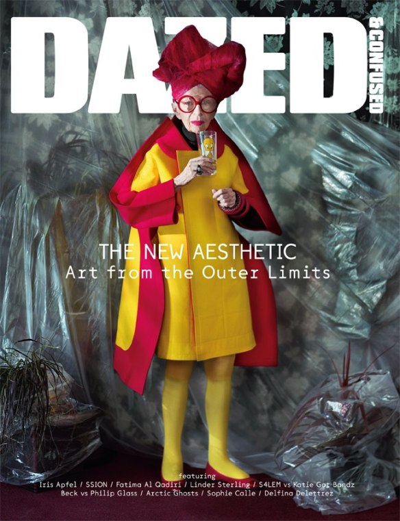 Iris Apfel on the cover of Dazed and Confused (she's holding a tweety cup!)