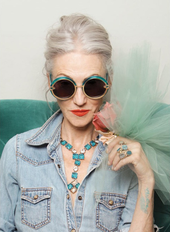 Model: Linda Rodin, 65 years old from Karen Walker Eyewear & Advanced Style